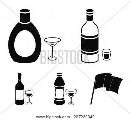 Vodka, Red Wine, Vermouth, Chocolate Liqueur.alcohol Set Collection Icons In Black Style Vector Symb