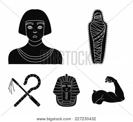 Crook And Flail, A Golden Mask, An Egyptian, A Mummy In A Tomb.ancient Egypt Set Collection Icons In