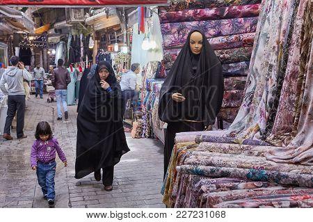 Tehran, Iran - April 29, 2017:  Buyers Go To The Tissue Department In The Oriental Bazaar.