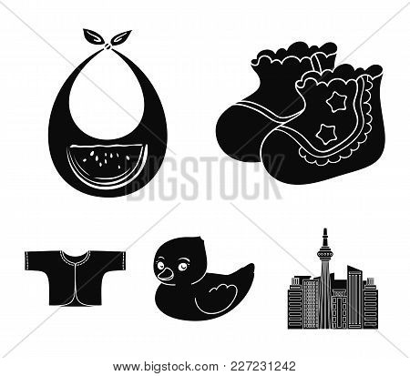 Socks, Bib, Toy Duck, Raspashonka.baby Born Set Collection Icons In Black Style Vector Symbol Stock