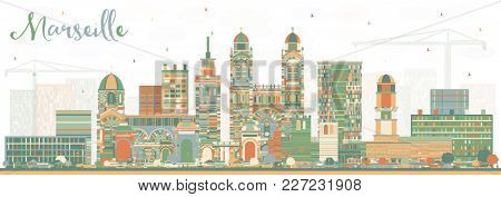 Marseille France City Skyline with Color Buildings. Business Travel and Tourism Concept with Historic Architecture. Marseille Cityscape with Landmarks.