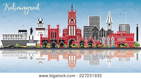 Kaliningrad Russia City Skyline with Color Buildings, Blue Sky and Reflections. Business Travel and Tourism Concept with Historic Architecture. Kaliningrad Cityscape with Landmarks.
