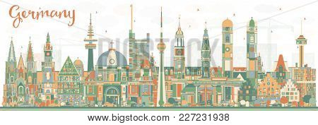 Germany City Skyline with Color Buildings. Business Travel and Tourism Concept with Historic Architecture. Germany Cityscape with Landmarks.