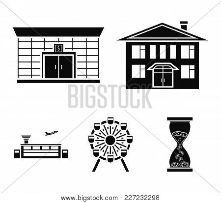 Airport, Bank, Residential Building, Ferris Wheel.building Set Collection Icons In Black Style Vecto