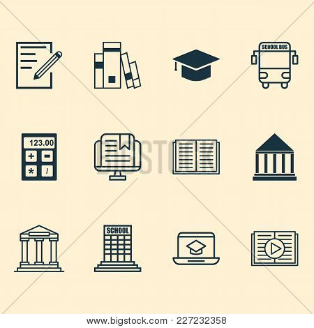 Education Icons Set With Online Education, University Building, Calculator And Other Paper Elements.