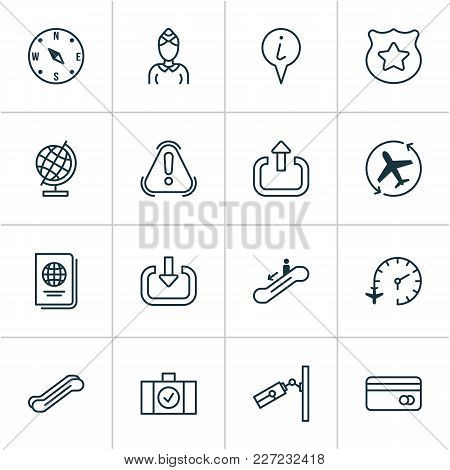 Transportation Icons Set With Stewardess, Credit Card, Moving Staircase And Other Stair Lift Element