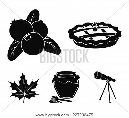 Cranberry, Pumpkin Pie, Honey Pot, Maple Leaf.canada Thanksgiving Day Set Collection Icons In Black