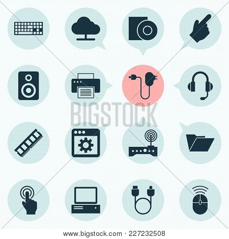 Digital Icons Set With Computer, Adapter, Speaker And Other Pointer Elements. Isolated Vector Illust