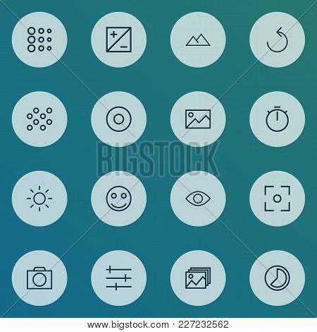 Photo Icons Line Style Set With Picture, Circle, Rotate Left And Other Center Focus Elements. Isolat