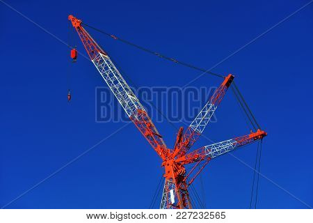 Mobile Telescopic Construction Crane With Hook  At Work