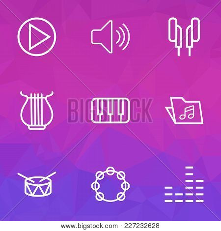 Multimedia Icons Line Style Set With Tambourine, Piano, Mixer And Other Keys Elements. Isolated Vect