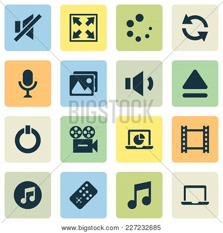 Multimedia Icons Set With Widen, Laptop, Sync And Other Video Elements. Isolated Vector Illustration