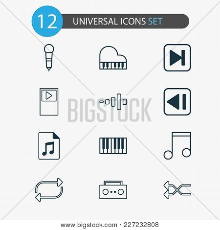 Multimedia Icons Set With Shuffle, Piano, Previous Music And Other Piano Elements. Isolated Vector I