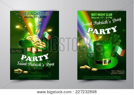 Saint Patricks Day Invitation Set Party Card Design With Leprechaun Hat With Gold On Blurred Green B