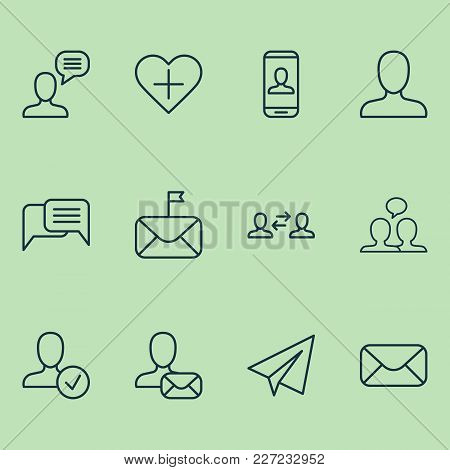 Social Icons Set With Member, Chatting, Dialogue And Other Confirm Elements. Isolated Vector Illustr