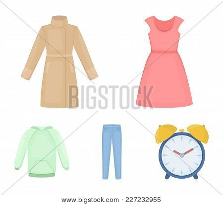 Dress With Short Sleeves, Trousers, Coats, Raglan.clothing Set Collection Icons In Cartoon Style Vec
