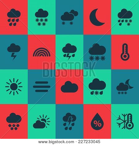 Climate Icons Set With Night, Humidity, Heavy Rain And Other Moisture Elements. Isolated Vector Illu