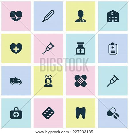 Medicine Icons Set With Medic, Pellets, Tooth And Other Bandage Elements. Isolated Vector Illustrati
