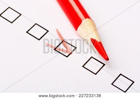 Checkboxes Questionnaire With Red Pencil. Marketing And Customer Service Concept