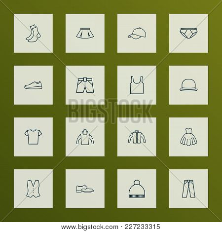 Dress Icons Line Style Set With Panama, Underwear, T-shirt And Other Cardigan Elements. Isolated Vec