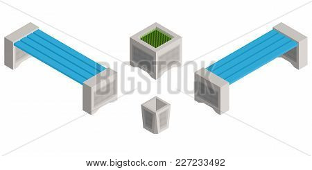 Isometric Benches In A Park And A Garbage Bin On A Garbage Vector