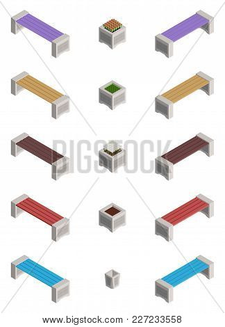 Large Selection Of Isometric Benches And Flower Beds With Flowers Vector
