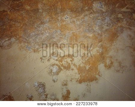 Background Or Texture Of An Old Peeling Wall By Infiltration.