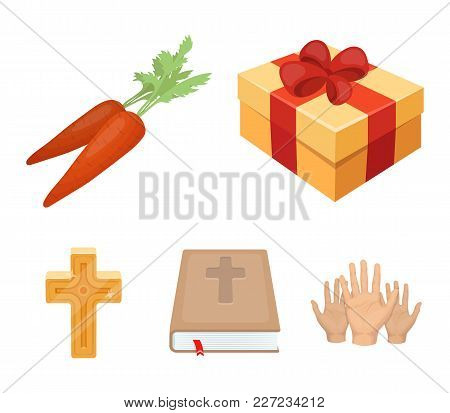 Cross, Bible, Gift And Carrots.easter Set Collection Icons In Cartoon Style Vector Symbol Stock Illu