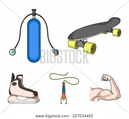 Skateboard, Oxygen Tank For Diving, Jumping, Hockey Skate.extreme Sport Set Collection Icons In Cart