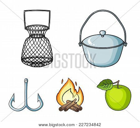 Catch, Hook, Mesh, Caster .fishing Set Collection Icons In Cartoon Style Vector Symbol Stock Illustr