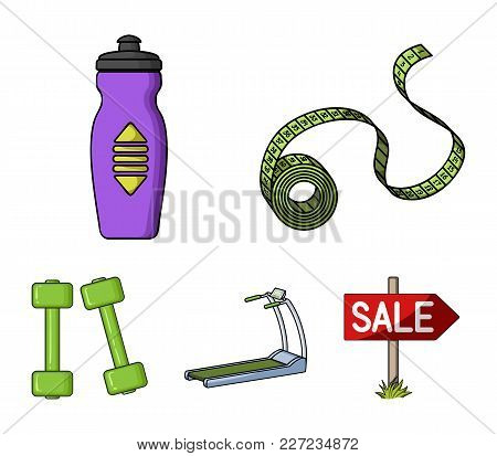 Measuring Tape, Water Bottle, Treadmill, Dumbbells. Fitnes Set Collection Icons In Cartoon Style Vec