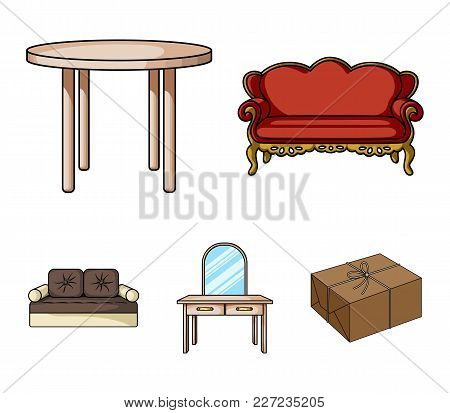 Sofa, Armchair, Table, Mirror .furniture And Home Interiorset Collection Icons In Cartoon Style Vect