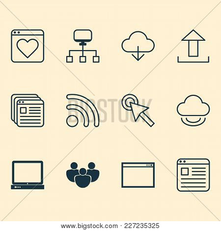 Connection Icons Set With Group, Favorite, Tabs And Other Upload Elements. Isolated  Illustration Co