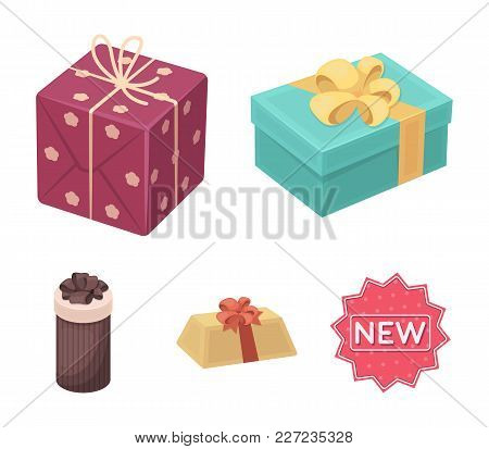 Gift Box With Bow, Gift Bag.gifts And Certificates Set Collection Icons In Cartoon Style Vector Symb