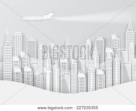 White Paper Skyscrapers And Airplane In The Sky. Achitectural Building In Panoramic View. Modern Cit