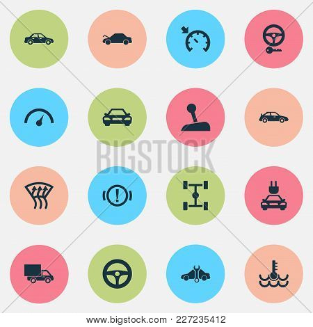 Auto Icons Set With Cruise Control On, Gear Lever, Electric Car And Other Repairing Elements. Isolat
