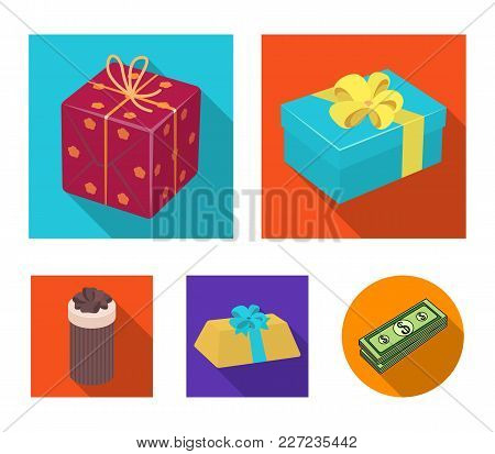 Gift Box With Bow, Gift Bag.gifts And Certificates Set Collection Icons In Flat Style Vector Symbol