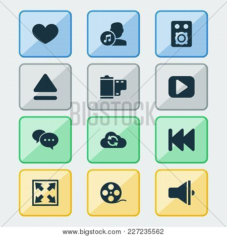 Multimedia Icons Set With Eject, Film, Comment And Other Photo Elements. Isolated  Illustration Mult
