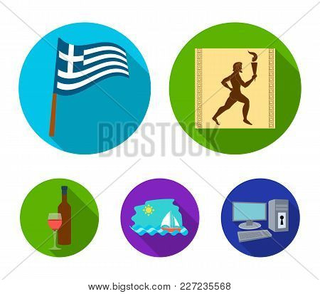 Greece, Running, Wine, Flag .greece Set Collection Icons In Flat Style Vector Symbol Stock Illustrat