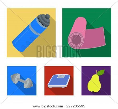 A Dumbbell, A Rug And Other Equipment For Training.gym And Workout Set Collection Icons In Flat Styl