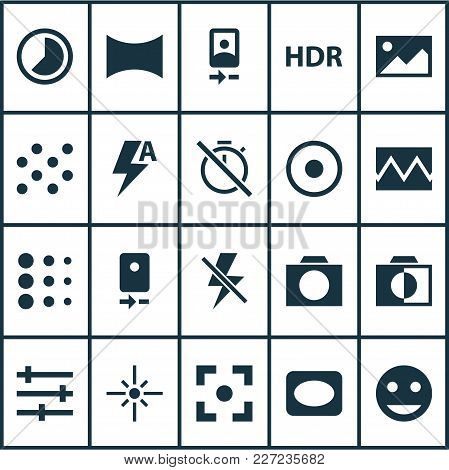 Photo Icons Set With Photographing, Image, Camera Front And Other Lightning Elements. Isolated  Illu