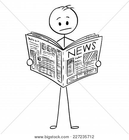 Cartoon Stick Man Drawing Conceptual Illustration Of Businessman Reading Bad News In Newspaper.