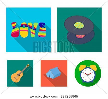 Vinyl Discs, Guitar, Tent.hippy Set Collection Icons In Flat Style Vector Symbol Stock Illustration.