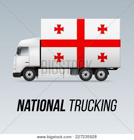Symbol Of National Delivery Truck With Flag Of Georgia. National Trucking Icon And Georgian Flag