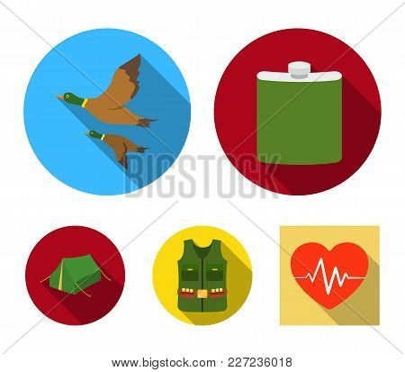 Flask, Gilet With Cartridges, Flying Ducks, Tent.hunting Set Collection Icons In Flat Style Vector S