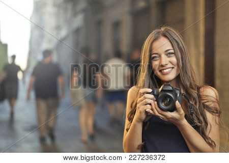 Passionate photographer taking a picture