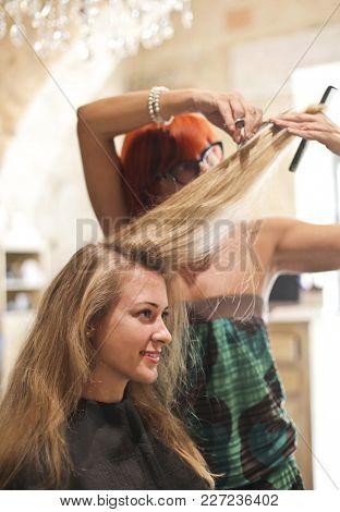 Cutting long blonde hair