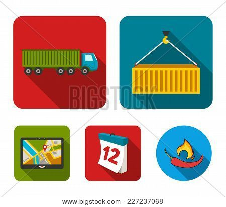 Metal Container, Calendar, Truck, Gps Navigator.logistic Set Collection Icons In Flat Style Vector S