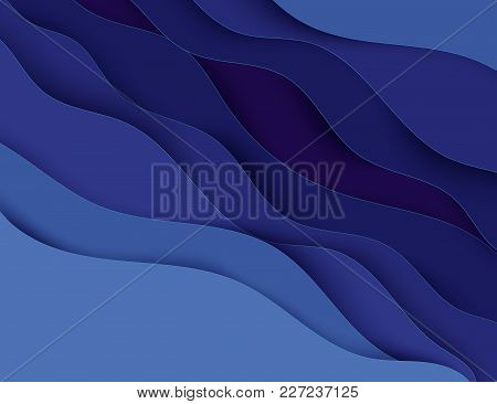 Paper Art Cartoon Abstract Waves. Paper Carve Background. Modern Origami Design Template. Vector Ill