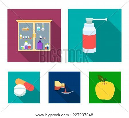 Inhaler, Medical Cabinet, Tablets, Syrup In A Spoon.mtdicine Set Collection Icons In Flat Style Vect